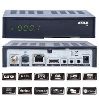 Apebox S2 Full HD 1080p H.265 Sat Receiver, LAN, Kartenleser, Schwarz