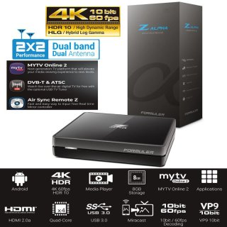 Formuler Z Alpha 4K UHD IPTV Android OS Media Player H.265 HEVC 5GHz WLAN, Schwarz
