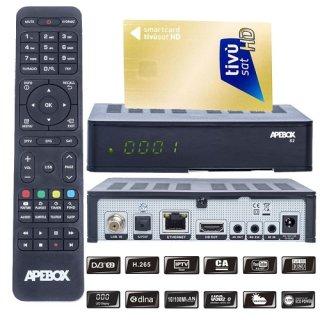 APEBOX S2,USB,CA,IPTV Receiver mit AKTIVIERTE TIVUSAT Karte
