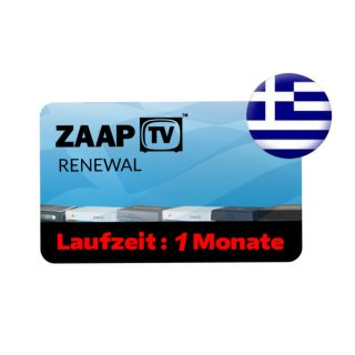 ZaapTV HD409N, HD509N, HD509NII, CLOODTV, X, HD609N - Griechisches Senderpaket - 1 Monate Verlängerung
