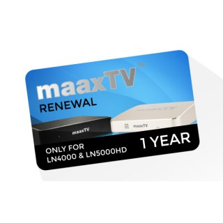 MaaxTV Verlängerung für MaaxTV LN4000 und LN5000HD - Laufzeit 1 Jahr