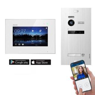 """Balter EVO SILVER Video-Türsprechanlage 7"""" Wifi Monitor 2-Draht BUS für 1 Familienhaus App Steuerung"""