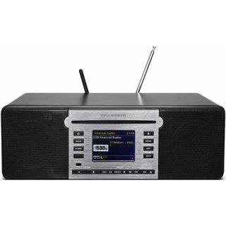 Kathrein DAB+ 100 highline schwarz DAB+/FM Radio mit Bluetooth für Audio-Streaming, WiFi und CD-Player