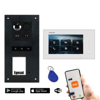 """BALTER ERA Schwarz RFID 2-Draht BUS IP 7"""" WiFi Video Türstation iOS Android App für 1 Teilnehme"""