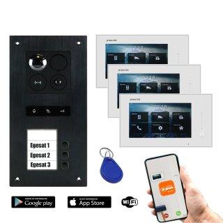 """BALTER ERA Schwarz RFID 2-Draht BUS IP 7"""" WiFi Video Türstation iOS Android App für 3 Teilnehmer"""