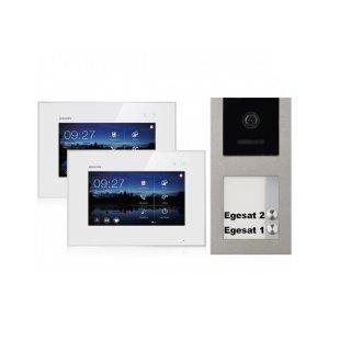 """BALTER EVO Aufputz Video Türsprechanlage 2-Draht BUS für 2-Familienhaus mit 7"""" Touchscreen Monitor und Hauptstromverteiler"""