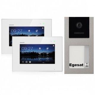 """BALTER EVO Aufputz Video Türsprechanlage 2-Draht BUS für 1-Familienhaus mit 2 x 7"""" Touchscreen Monitor und Hauptstromverteiler"""