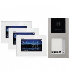 """BALTER EVO Aufputz Video Türsprechanlage 2-Draht BUS für 1-Familienhaus mit 3 x 7"""" Touchscreen Monitor und Hauptstromverteiler"""