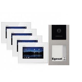 """BALTER EVO Aufputz Video Türsprechanlage 2-Draht BUS für 1-Familienhaus mit 4 x 7"""" Touchscreen Monitor und Hauptstromverteiler"""