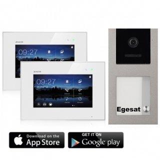 """BALTER EVO Aufputz Video Türsprechanlage 2-Draht BUS für 1-Familienhaus mit 7"""" WIFI Touchscreen Monitor und Hauptstromverteiler"""