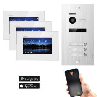 """Balter EVO SILVER Video-Türsprechanlage 7"""" Wifi Monitor 2-Draht BUS für 3 Familienhaus App Steuerung"""