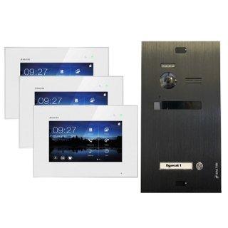"""Balter EVO Schwarz Video-Türsprechanlage 3x7"""" Touchscreen 2-Draht BUS Komplettsystem für 1 Teilnehmer"""
