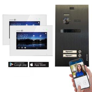 """Balter EVO Schwarz Video-Türsprechanlage 7"""" Wifi Monitor 2-Draht BUS für 2 Familienhaus App Steuerung"""
