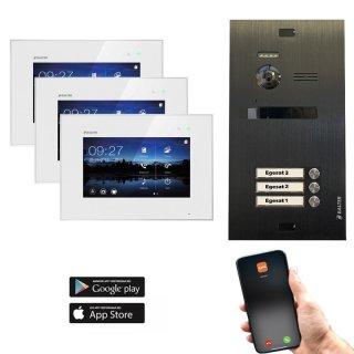 """Balter EVO Schwarz Video-Türsprechanlage 7"""" Wifi Monitor 2-Draht BUS für 3 Familienhaus App Steuerung"""