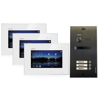"""Balter EVO Schwarz Video-Türsprechanlage 7"""" Touchscreen 2-Draht BUS Komplettsystem für 3 Teilnehmer"""