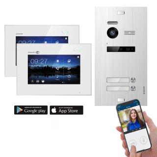 """Balter EVO SILVER Video-Türsprechanlage 2x7"""" Monitor 2-Draht BUS für 2 Familienhaus App Steuerung"""