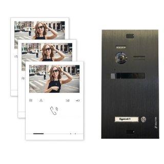 Balter EVO Schwarz Video-Türsprechanlage 3x Quick Monitor 2-Draht BUS Komplettsystem
