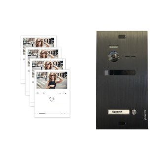 Balter EVO Schwarz Video-Türsprechanlage 4x Quick Monitor 2-Draht BUS Komplettsystem