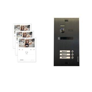 Balter EVO Schwarz Video-Türsprechanlage Quick Monitor 2-Draht BUS Komplettsystem für 3 Teilnehmer