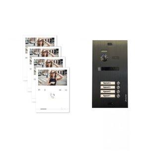 Balter EVO Schwarz Video-Türsprechanlage Quick Monitor 2-Draht BUS Komplettsystem für 4 Teilnehmer