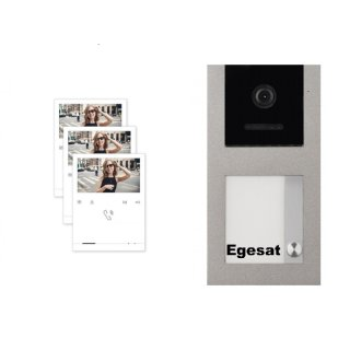 """BALTER EVO Aufputz Video Türsprechanlage 2-Draht BUS für 1-Familienhaus mit 3 x 4,3"""" EVO-QUICK Monitor und Hauptstromverteiler"""