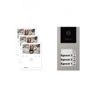 """BALTER EVO Aufputz Video Türsprechanlage 2-Draht BUS für 3-Familienhaus mit 3x 4,3"""" EVO-QUICK Monitore und Hauptstromverteiler"""