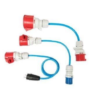 go-e 3-teiliges Adapterset 22 kW HOME+ auf CEE rot & blau 16 A, Schutzkontaktstecker