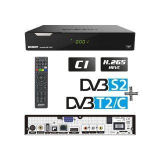 Edision PICCOLLO 3in1 S2+T2/C Combo Receiver H.265/HEVC DVB-S2,DVB-T2,DVB-C) CI Full HD USB schwarz