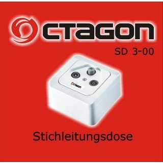 Octagon Sat Enddose 3-loch Antennendose Dose Sat TV FM Auf & Unterputz
