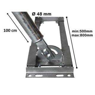 Aufdachhalter Sparren Halter mit 48 mm Mast für ausgebautes Dach Aufdach