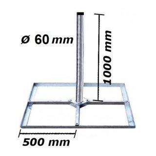Mastfuß Balkonständer Holland 4x 50x50 & 1 m - 60mm Mast Flachdach