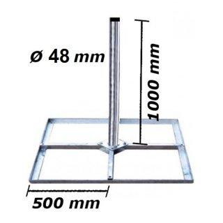 Mastfuß Balkonständer 4x 50x50 & 1m Mast Flachdach Stahl