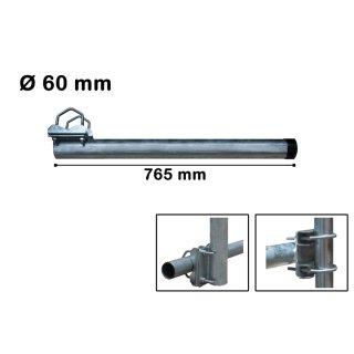 Geländerhalter Mastverlängerung Gerade Balkonhalter mit Schellen 76,5 cm x 60 mm