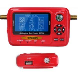 OCTAGON SAT-FINDER Messgerät SF518 LCD HD & UHD 4K USB 2.0 Spektrum