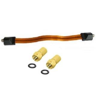 Fensterdurchführung Kabel 29,5 cm Ultra-Slim Flachband mit F-Stecker vergoldet
