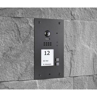 BALTER EVIDA Graphit RFID Edelstahl-Türstation für 2 Teilnehmer, 2-Draht BUS Technologie (Video / Audio / Strom), 170° Ultra-Weitwinkelkamera
