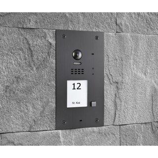 BALTER EVIDA Graphit RFID Edelstahl-Türstation für 1 Teilnehmer, 2-Draht BUS Technologie (Video / Audio / Strom), 170° Ultra-Weitwinkelkamera