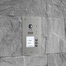 BALTER EVIDA Silver RFID Edelstahl-Türstation für 3 Teilnehmer, 2-Draht BUS Technologie (Video / Audio / Strom), 170° Ultra-Weitwinkelkamera