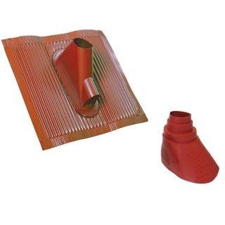 Alu Dachziegel + Gummidichtung Rot mit Kabeldurchführung Dachpfanne