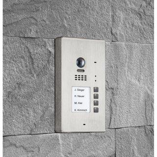 BALTER EVIDA Silver RFID Edelstahl-Türstation für 4 Teilnehmer, 2-Draht BUS Technologie (Video / Audio / Strom), 170° Ultra-Weitwinkelkamera, Aufputz