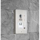 BALTER EVIDA Silver RFID Edelstahl-Türstation für 1 Teilnehmer, 2-Draht BUS Technologie (Video / Audio / Strom), 170° Ultra-Weitwinkelkamera, Aufputz