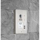 BALTER EVIDA Silver RFID Edelstahl-Türstation für 2 Teilnehmer, 2-Draht BUS Technologie (Video / Audio / Strom), 170° Ultra-Weitwinkelkamera, Aufputz