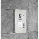 BALTER EVIDA Silver RFID Edelstahl-Türstation für 3 Teilnehmer, 2-Draht BUS Technologie (Video / Audio / Strom), 170° Ultra-Weitwinkelkamera, Aufputz