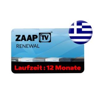 ZaapTV HD409N, HD509N, HD509NII, CLOODTV, X, HD609N - Griechisches Senderpaket - 12 Monate Verlängerung