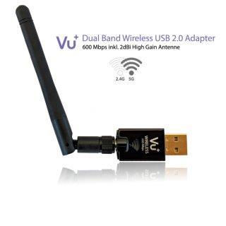 VU+® Dual Band Wireless USB 2.0 Adapter 600 Mbps inkl. Antenne
