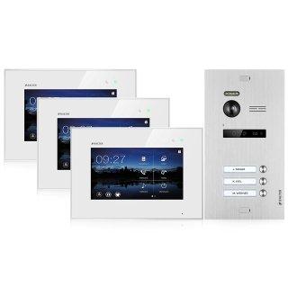 """Balter EVO SILVER Video-Türsprechanlage 7"""" Touchscreen 2-Draht BUS Komplettsystem für 3 Teilnehmer"""