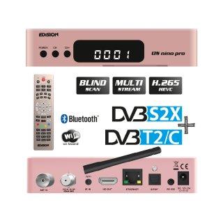 Edision OS Nino Pro 1xDVBS2X 1xDVBC/T2 Full HD E2 Linux H.265 USB Combo Wifi Receiver Rosegold