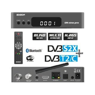 Edision OS Nino Pro 1xDVBS2X 1xDVBC/T2 Full HD E2 Linux H.265 USB Combo Wifi Receiver Grau