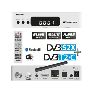 Edision OS Nino Pro 1xDVBS2X 1xDVBC/T2 Full HD E2 Linux H.265 USB Combo Wifi Receiver Weiss